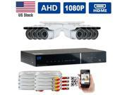GW HD-AHD (1080P Analog HD) Security System 8 CH 1080P Real Time Recording AHD DVR Kit 2.1MP AHD Camera 34 IR LEDs 100ft Weatherproof Night Vision Motion Detect