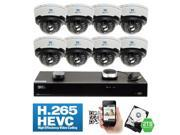 GW 8 Channel H.265 4K NVR 4 Megapixel 1680P Network Video Plug & Play IP Security System - 8 x POE 4MP Realtime 2.8~12mm Varifocal Zoom Lens Weatherproof Bullet IP Cameras (All Cables Included)