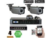 GW 4 Channel NVR Kit Security System with PoE Switch, 2 x PoE Camera System 1080P High Definition 2 Megapixel Weather Proof IP Camera, Motion Detective Smartphone View Easy QR-Code Scan (2TB HDD)