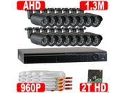 GW 16 Channel Hybrid HD DVR with 16 x 1.3MP Megapixel 960P Real Time Security Camera System - 2TB Hard Drive Pre-installed - Simple Plug & Play