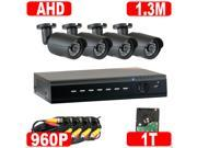 GW 4 Channel Hybrid HD DVR with 4 x 1.3MP Megapixel 960P Real Time Security Camera System - 2TB Hard Drive Pre-installed - Simple Plug & Play