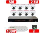 GW 8 Channel Plug & Play HD-SDI 1080P DVR with 8 x 2.1MP 1080P Real Time Security Camera System - 2TB Hard Drive Pre-installed