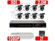 GW 8 Channel Plug & Play HD SDI DVR (8) x 2MP 1080P 2.8~12mm Varifocal Lens 200 Feet Long Range Night Vision Security Camera System - 2TB HDD Pre-installed