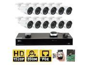 GW 16 Channel H.265 NVR 4-Megapixel (2592 x 1520) 4 X Optical Zoom Network Video Security System, 12 pcs 4MP 1520p 2.8-12mm Motorized Zoom POE Weatherproof Bullet IP Cameras, 130ft Night Vision