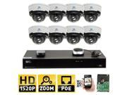 GW 8 Channel H.265 NVR 4-Megapixel (2592 x 1520) 4X Optical Zoom Network Video Security System, (8)pcs 4MP 1520p 2.8-12mm Motorized Zoom POE Weatherproof Bullet IP Cameras, 98 Feet Night Vision