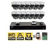 GW 16 Channel H.265 NVR 4-Megapixel (2592 x 1520) 4X Optical Zoom Network Video Security System, (12)pcs 4MP 1520p 2.8-12mm Motorized Zoom POE Weatherproof Bullet IP Cameras, 98 Feet Night Vision