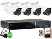 GW 1080p Security Camera System, 4 Weatherproof HD 1080p Plug-and-Play Cameras, 4 Channel DVR 1TB HDD, 98ft Night Vision