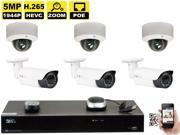 GW Security 8 Channel H.265 4K NVR 5-Megapixel (2592 x 1520) 4X Optical Zoom Network Plug & Play Security System, 6pcs 5MP 1920p 2.8-12mm Motorized Zoom POE Weatherproof Bullet & Dome IP Cameras