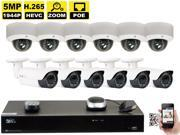 GW Security 16 Channel H.265 4K NVR 5-Megapixel (2592 x 1520) 4X Optical Zoom Network Plug & Play Security System, 12pcs 5MP 1920p 2.8-12mm Motorized Zoom POE Weatherproof Bullet & Dome IP Cameras