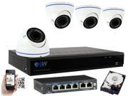 GW 4CH 5 Megapixel H.265 HEVC 1920P (2592×1920 Pixels) Security System NVR Kit, 4 x Varifocal Lens 5MP IP Camera PoE (Power Over Ethernet) HD Weather Proof, Smartphone QR-Code Scan (1TB HDD)