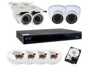 GW 5 Megapixel HD 1920P Complete Security System / (4) x 5MP 3.6mm Fixed Lens Outdoor Security Cameras, 8-Channel Plug and Play 5-In-1 DVR / XVR, Cloud service,
