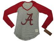 Alabama Crimson Tide Retro Brand Women Red Two Tone V-Neck LS T-Shirt (L) 9SIA46M3H96854