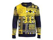 Michigan Wolverines FC Yellow Navy Patches Knit Winter Ugly Sweater (S)