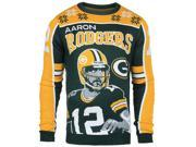 Green Bay Packers FC Green Gold Aaron Rodgers #12 Knit Player Ugly Sweater (2XL)