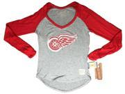 Detroit Red Wings Retro Brand Women Red Two Tone V-Neck Long Sleeve T-Shirt (L) 9SIA46M3JS5661