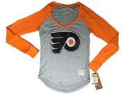 Philadelphia Flyers Retro Brand Women Orange Two Tone V-Neck LS T-Shirt (L) 9SIA46M3JS5668