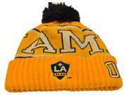 Los Angeles LA Galaxy MLS Adidas #00 Gold Navy Blue Poof Ball Cap Hat Beanie