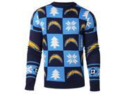 San Diego Chargers NFL FC Light Blue & Navy Knit Patches Ugly Sweater (M) 9SIA46M4XH2965
