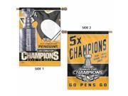 Pittsburgh Penguins Stanley Cup 5-Time 5X Champions 2-Sided Banner Flag 9SIA46M5UY7060