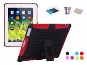 Hybrid Silicone TPU Hard Kickstand Heavy Duty Dual Layer Cover Case For Apple iPad 2 iPad 3 iPad 4 Film Stylus Cloth