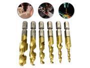 6 Pcs High Speed Steel 6542 Metal Cutting Tool Spiral Screw Tap Drill Bit M3 M10 6 Steps