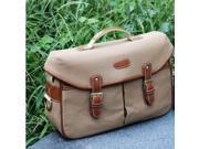 Canvas Enhanced Shoulder Bag Case Pouch for SLR Camera Camcorder - Coffee (L)