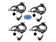 HQRP 4-Pack 2 Pin External Ear Loop Hands Free with Push-to-talk Microphone for Motorola Radio Devices AU1200 / AV1200 / AXV5100 / AXU4100 / BPR40 + HQRP Coaste