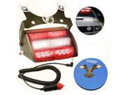 HQRP 18 LED Car Deck Truck Dash Strobe Flash Warning Light Emergency 12V 6 Red / White Panels 4 Flash Mode + HQRP Coaster