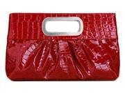 Chicastic Oversized Glossy Casual Evening Clutch Purse Metal Grip Red