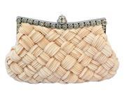 Chicastic Pleated and Braided Rhinestone Stud Clutch Purse Beige