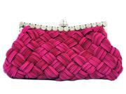 Chicastic Pleated and Braided Rhinestone Stud Clutch Purse Fuchsia Pink
