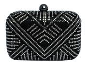 Chicastic Black Multi Color Rhinestone Crystal Hard Box Clutch Purse