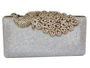 Chicastic Mesh Rhinestone Peacock Hard Box Wedding Clutch Purse Silver