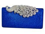 Chicastic Mesh Rhinestone Peacock Hard Box Wedding Clutch Purse Royal Blue
