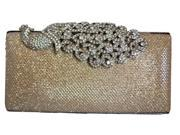 Chicastic Mesh Rhinestone Peacock Hard Box Wedding Clutch Purse Champagne