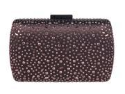Chicastic Brown Rhinestone Crystal Hard Box Mini Wedding Evening Clutch Purse