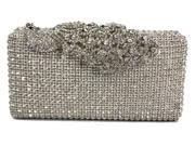 Chicastic Crystal Stud Peacock Motif Hard Box Evening Clutch Bag Silver