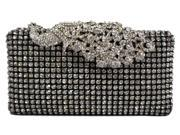 Chicastic Crystal Stud Peacock Motif Hard Box Evening Clutch Bag Black