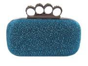 Chicastic Glitter Duster Knuckle Clutch Purse With Rhinestones Royal Blue