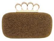 Chicastic Glitter Duster Knuckle Clutch Purse With Rhinestones Gold