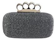 Chicastic Glitter Duster Knuckle Clutch Purse With Rhinestones Grey