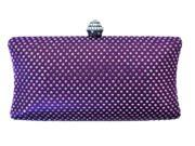 Chicastic Purple Rhinestone Crystal Hard Box Wedding Evening Clutch Bag