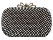Chicastic Black Crystal Bow Closure Clutch Purse Bag with Rhinestone Crystals