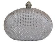 Chicastic Silver Rhinestone Crystal Mini Hard Mini Wedding Evening Clutch Bag