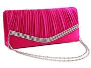Chicastic Fuchsia Pink Pleated Satin Wedding Evening Bridal Clutch Purse