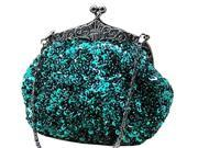 Chicastic Sequined Mesh Beaded Antique Clutch Purse Green