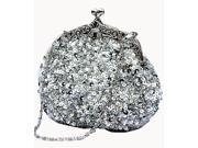 Chicastic Sequined Mesh Beaded Antique Clutch Purse Silver