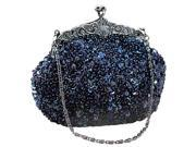 Chicastic Sequined Mesh Beaded Antique Clutch Purse Blue