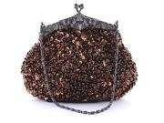 Chicastic Sequined Mesh Beaded Antique Clutch Purse Coffee Brown