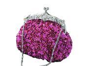 Chicastic Sequined Mesh Beaded Antique Clutch Purse Fuchsia Pink